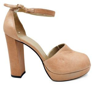 Stuart Weitzman Tan Leather Peep Toe Platform Heel